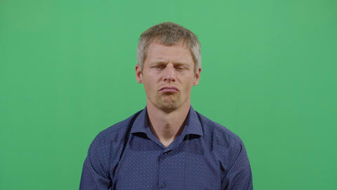 Facial Expression Of A Adult Man Pouting Footage