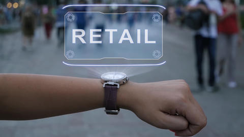 Female hand with hologram Retail Footage