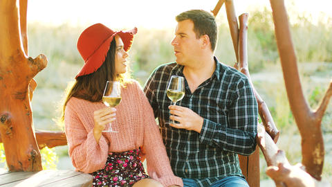 Couple in vineuard clinking glasses with wine Footage