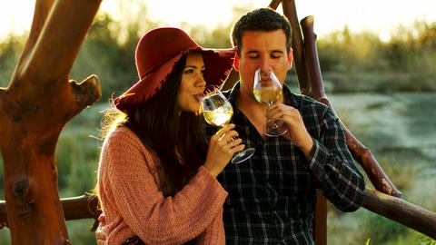Couple having a romantic moment, tasting some wine Footage