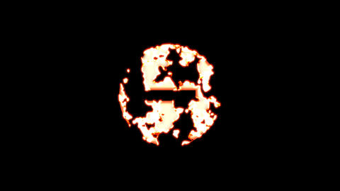 Symbol minus circle burns out of transparency, then burns again. Alpha channel Premultiplied - Animation
