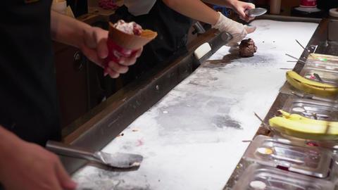 Handmade ice cream in cafe. Process preparation handmade ice cream in Footage