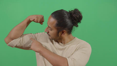 Muscular Adult Man Flexing Arm Live Action
