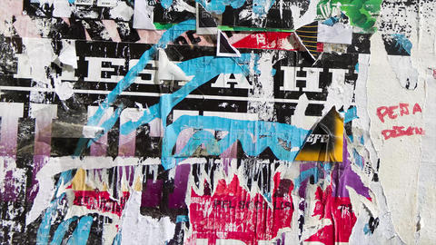 Old colorful posters ripped torn crumpled paper abstract grunge texture wall Animation