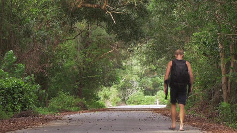 Male Backpacker Walking on Road in the Jungle - Hiking Traveler - Contrast Look Footage