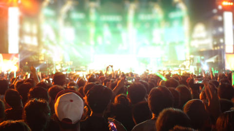 Crowd of people at open-air concert Footage