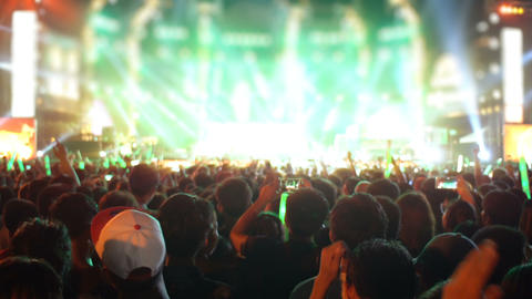 Crowd of people at open-air concert Stock Video Footage