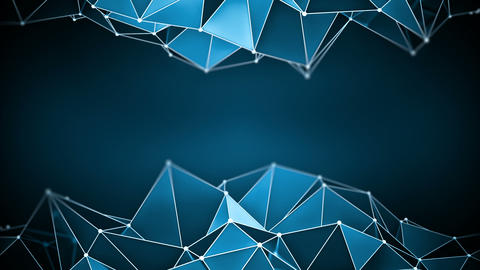 Blue glossy polygonal shape vibrating 3D render loop Animation