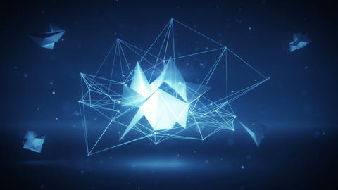 Glowing futuristic polygonal network 3D shape. Loop Animation