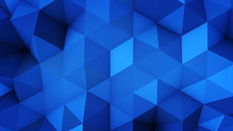 Blue polygonal geometric surface vibrating seamless loop Animation
