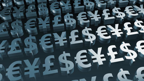 Currency Symbols Seamless Loop In Blue stock footage