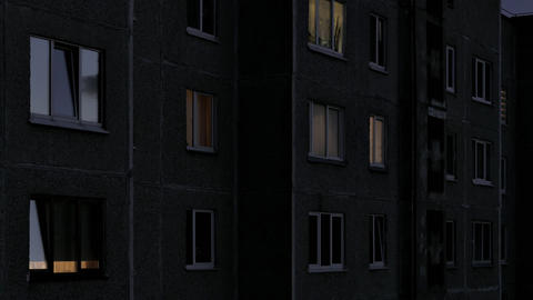 1080p Time Lapse of Windows Multistory Apartment Building During Sunrise Footage