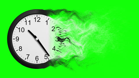 Time Disintegrating Into Dust. Green Screen Animation