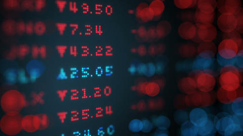 Stock exchange rates data board loop Animation