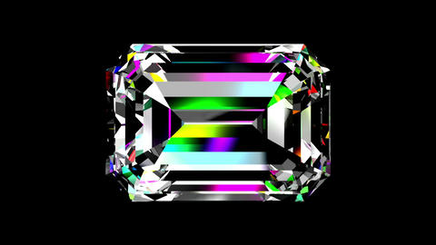 Iridescent Diamond Emerald. Looped. Alpha Matte Animation