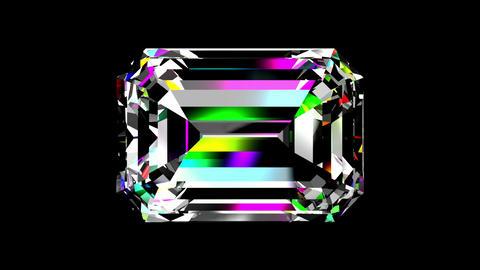 Iridescent Diamond Emerald. Looped. Alpha Matte Animation