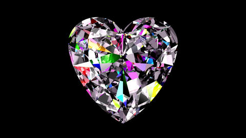 Iridescent Diamond Heart. Looped. Alpha Matte Animation