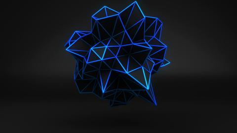 Blue glow polygonal 3D shape on black. Loop Stock Video Footage
