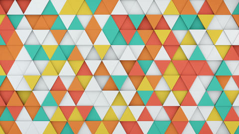 Colorful triangles extruding 3D render loopable animation Animation