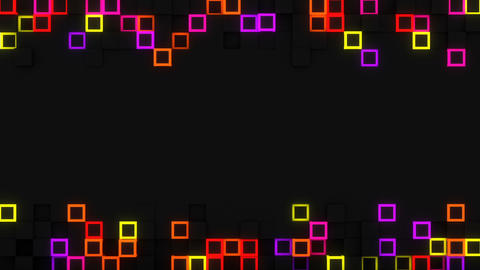 Neon glow extruded cubes 3D render loop Animation