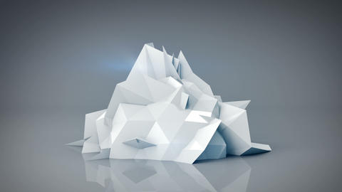 White polygonal shape. Abstract 3d render animation loop Footage