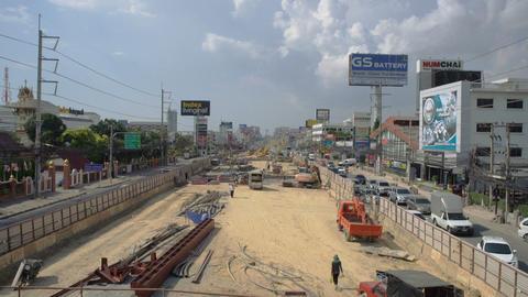 Road reconstruction on sukhumvit street Footage