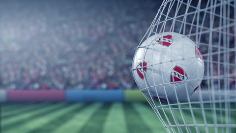 Ball with Club Atletico Independiente football club logo hits football goal net Live Action