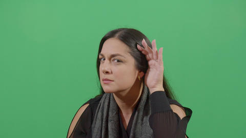 Woman Using Hands As Hearing Device Footage