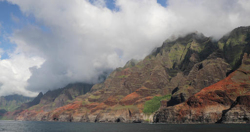 Hawaii beach Na Pali coast of Kauai - famous hawaiian tourist destination Live Action