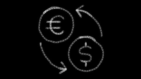 icon change currencies with drawing style on blackboard, animated footage ideal Live Action