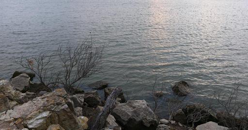 Rocks on lake shoreline Live Action