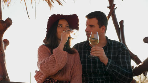 In love couple clinking glasses with wine Footage