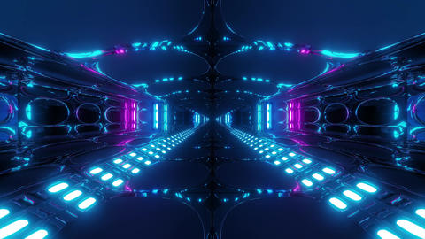 futuristic alien space tunnel corridor with cool reflections 3d rendering live Animation