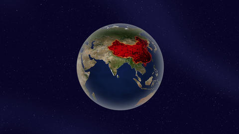 Earth china high light glow loop animation Stock Video Footage
