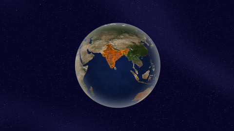 Earth India high light glow loop animation Videos animados