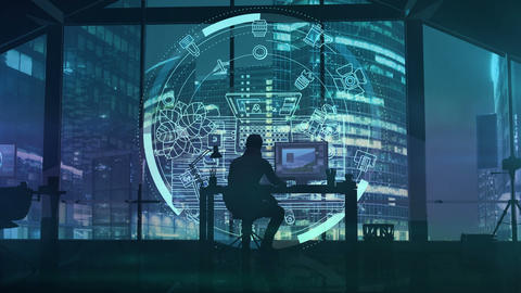 A photographer in an office overlooking a business center Animation