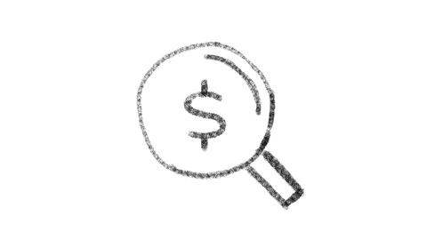 lens icon with dollar symbol drawn with drawing style on chalkboard, animated Live Action