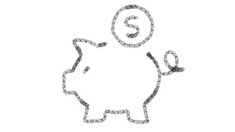 Piggy bank icon designed with drawing style on blackboard, animated footage Photo