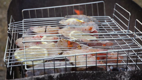 Grilled fish, catfish steak with lemon, aromatic spices and vegetables on the Footage