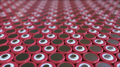Multiple red lithium-ion batteries for portable electronics and electric Live Action