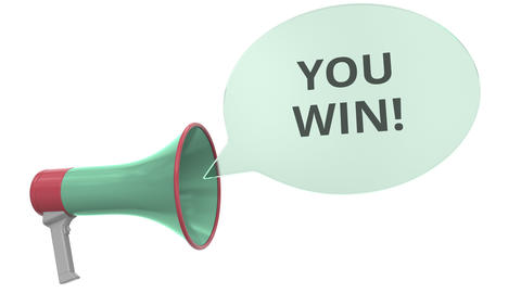 Green megaphone with YOU WIN message on speech bubble. Conceptual 3D animation Live Action
