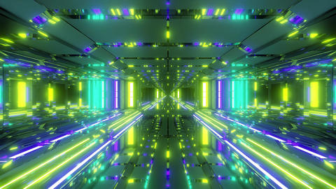 futuristic space temple tunnel corridor with cool reflections and glass bottom CG動画