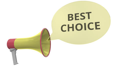 Yellow megaphone with BEST CHOICE message on speech bubble. Conceptual 3D Footage