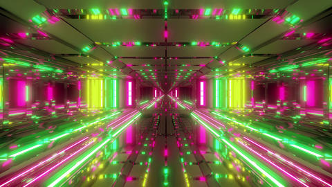 futuristic space temple tunnel corridor with cool reflections and glass bottom Animation