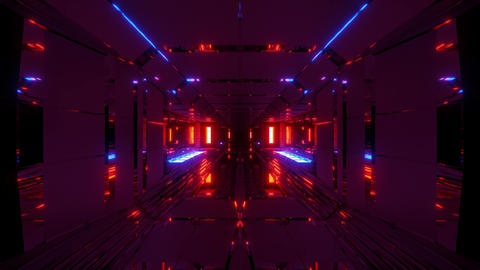 [alt video] futuristic space hangar tunnel corridor with cool...