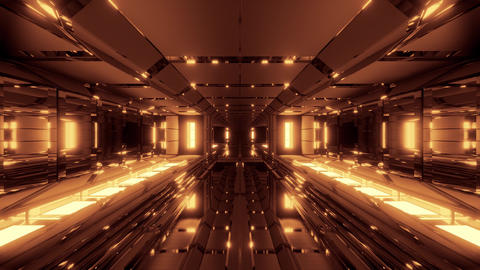 futuristic space hangar tunnel corridor with cool reflections and glass bottom Animation