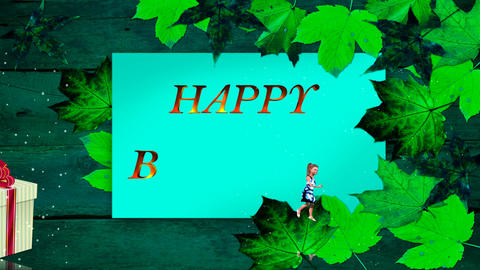 81 3d animated greeting card with animated small girl Animation