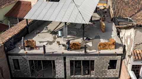 Cuenca, Ecuador - 2019-09-01- Apartment Construction Timelapse - Brick Wall Footage