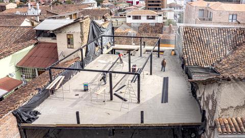 Cuenca, Ecuador - 2019-09-01- Apartment Construction Timelapse - Gazebo Frame Footage