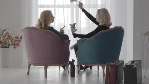 Back view of rich Caucasian women sitting in comfortable armchairs and ビデオ